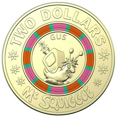 2019 $2  Coin 60th Anniversary of Mr Squiggle and Friends Coloured Unc #2 EX SET