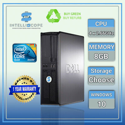Fast Dell Quad Core Pc Computer Desktop Tower Windows 10 Wifi 8Gb Ram Hdd & Ssd