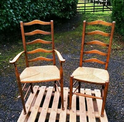 Pair Of Ladder Back Country Chairs Rush Seats Lovely Wood