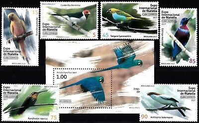CARIBBEAN 2017 FAUNA BIRDS COMPLETE MNH SET with BLOCK in GOOD QUALITY ***