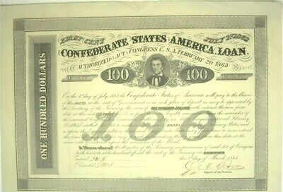 1863 Confederate States Of America $100 Bond Cr#123  7 Coupons Attached  Rare!