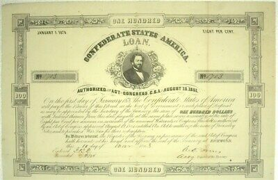 1863 Confederate States Of America $100 Bond Cr#43A 28 Coupons Attached Scarce!