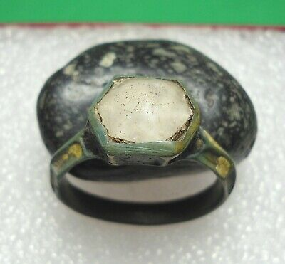 Ancient Roman Bronze Ring with stone Enamel Original Authentic Antique RareR620