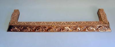 Large reclaimed  Arts  & Crafts decorative copper fireplace fender