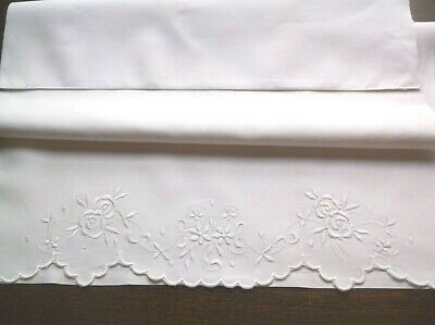 Vintage Linen Embroidered Long Pillow Slip Unused