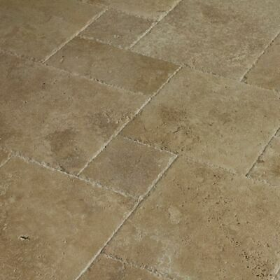 "Meandros Walnut Travertine Tile Antique Pattern-4""x4"" SAMPLE"