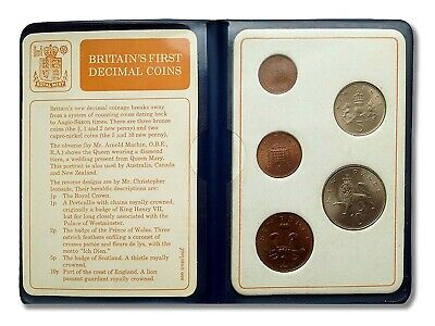 Britains First  Decimal Coin Set Of Uncirculated Coins In Blue Wallet