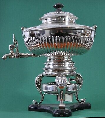 Antique Silver tea pot with heater stand, Samovar, early 19th century