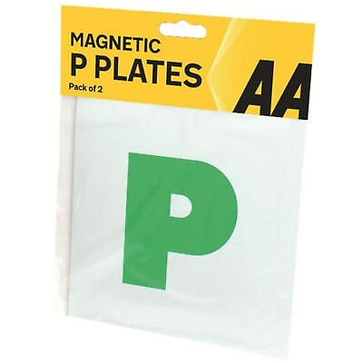 AA 2 x Fully Extra Strong Magnetic Car P Plates Learner New Driver Just Passed