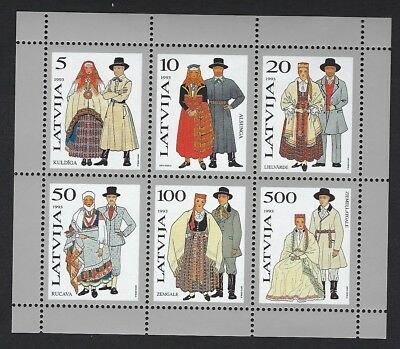 Latvia - Beautiful 1993 MNH Minature Sheet Costumes #348a  CV $25.00......S 9101
