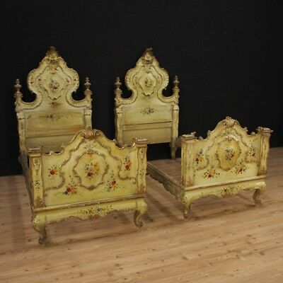 Beds pair of furniture venetian wood lacquered golden painted antique style 900
