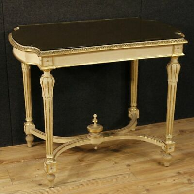 Table de salon verni meuble petite table italien en bois d'or style ancien