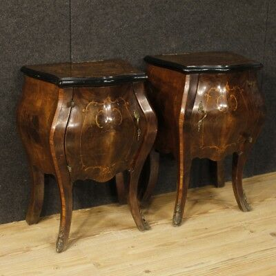 Nightstands couple coffee tables furniture italiani wooden inlaid antique style