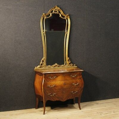 Dresser Commode mirror furniture italiani wood golden drawers antique style 900
