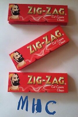 3 Books! ZIG-ZAG Red CutCorners 1.0 Cigarette Rolling Papers! 60 Leaves Per Book