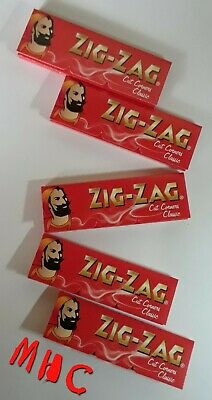 5 Books! ZIG-ZAG Red CutCorners 1.0 Cigarette Rolling Papers! 60 Leaves Per Book