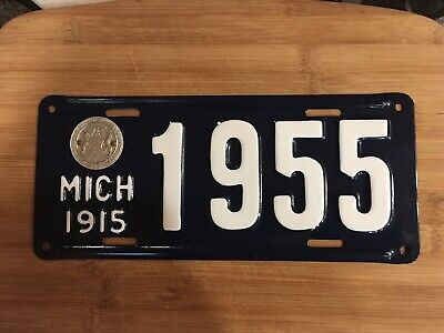 1915 Mich. Michigan License Plate1955 Older Resto Repaint