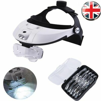 Magnifying Glass Headset LED Light Head Headband 6X Magnifier Loupe With Box UK