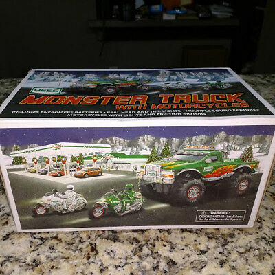 "2007 HESS ""MONSTER TRUCK WITH MOTORCYCLES""-NEW IN BOX never been out of box"