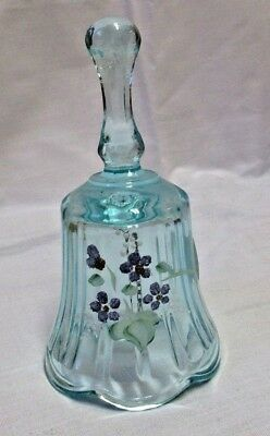 """Fenton Blue Glass Bell Heart Handle Hand Painted J Owens 2"""" X 4 1/2"""" Flowers"""