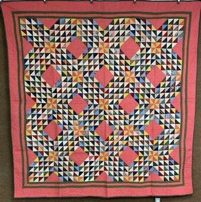 Tiny Triangles! c 1890s Ocean Wave QUILT Antique AMAZING Pattern