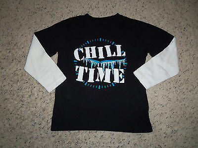 New Boys Childrens Place Black Long Sleeve Chill T Shirt Size