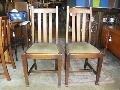 Lovely Pair Of  Sturdy Oak 1920's Era Arts & Crafts Dining Chairs