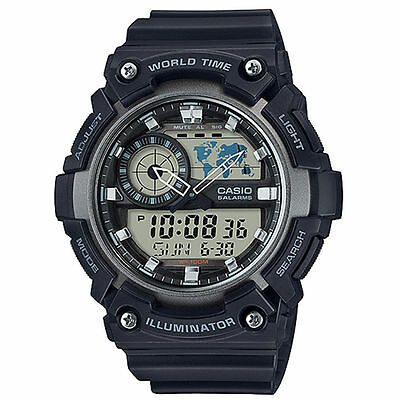 Casio AEQ200W-1AV, Digital/Analog Combo, 5 Alarms, World Time, Resin Strap