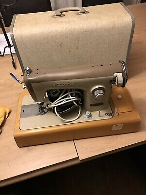 Vintage metal Body Electric brother sewing machine with light foot pedal & case