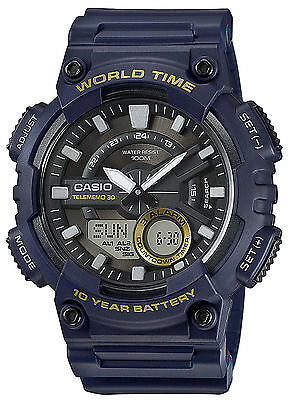 Casio AEQ110W-2AV, Digital/Analog Combo, 3 Alarms, 30 Telememo, Blue Resin