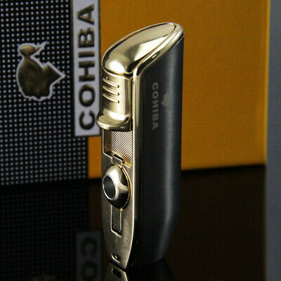Cohiba Gunmetal Dark Gray Triple Jet Blue Flame Cigar Lighter Brand New