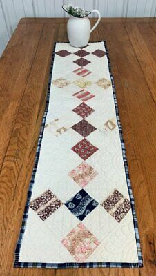 Early February 22, 1832 Nine Patch ANTIQUE Table Quilt 48 x 11 BLUEs