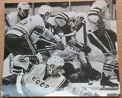 Old Russian USSR Sweden CCCP Champion Photo Card Hockey stick Game Command vtg