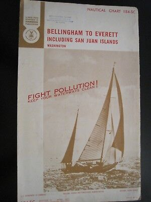 NOAA  Nautical Chart 184-SC #11 1971 Bellingham to Everett, San Juan Islands