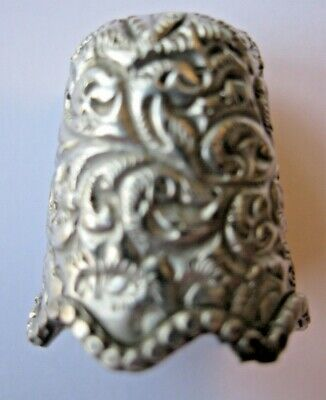 Beautiful Antique White metal THIMBLE sewing accessory