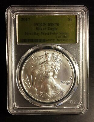 2017 American Silver Eagle First Day West Point Strike PCGS MS70 Gold Label