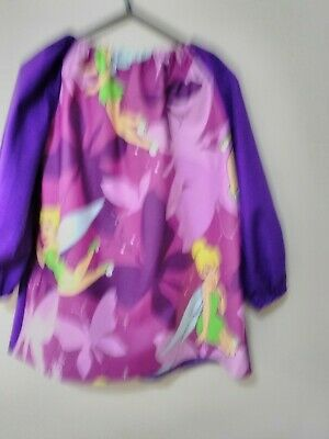 Handmade Kids Tinkerbell  Art Smock Girls4-7 with Thermal Backing For protection