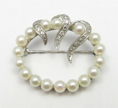 14K White Gold ~5MM Pearls ~1/4CTW Diamond Oval Brooch Pin