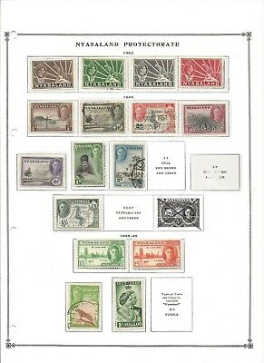 Nyasaland Protectorate 1941-1949 Lot 16 Stamps Used/mint Hinged