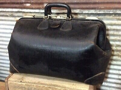 "Antique Vtg 20s 30s Doctor Medical Cowhide Leather Large Travel Bag 20""x12""x12"""