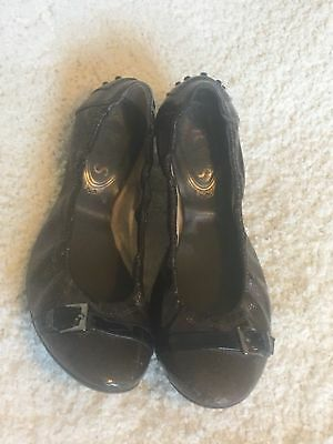 a47eee8e999 TOD S BLACK LEATHER Ballet Flat with Silver Buckle Detail US 7.5 ...