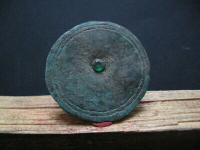 Sun Disc With Green Stone Ancient Celtic Bronze Cosmic Amulet 300-100 B.c.