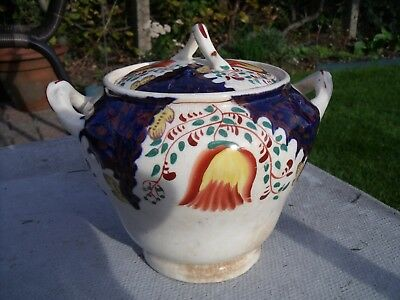 Gaudy Welsh Swansea Cottage Tulip Pattern Sucrier and Cover Sugar Bowl 1820-1860