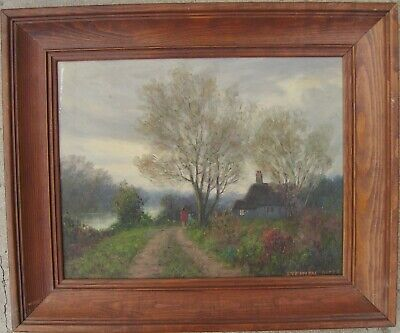 "Vintage Original Country Scene Oil Painting Signed by Artist, Framed 18"" x 15"""