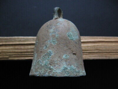 ANCIENT CELTIC BRONZE WARRIORS HORSES BELL 300-100 B.C. 60 mm