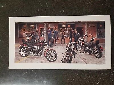 "VINTAGE HARLEY-DAVIDSON/BOOT HILL SALOON MARTIN HOFFMAN AD FROM 1980  . 18""x9"""