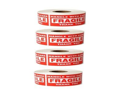 4 Roll 1 x 3 FRAGILE HANDLE WITH CARE Stickers (1000 Per Roll) 4000 total
