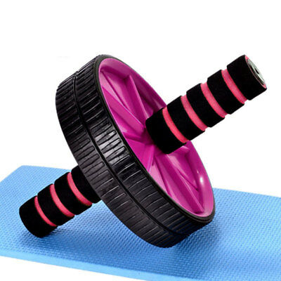 Abs Wheel Abdominal Roller Exercise Gym Fitness Body Strength Training Dark Pink