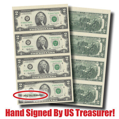 $2 Bills! Hand-Signed 4-Note Sheet--by Treasurer Mary Ellen Withrow (#10134)