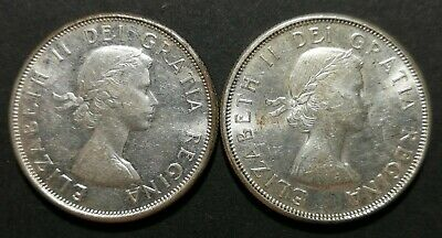 Lot of 2 1961 Canadian Silver Half Dollar 50 Cent Coins MS